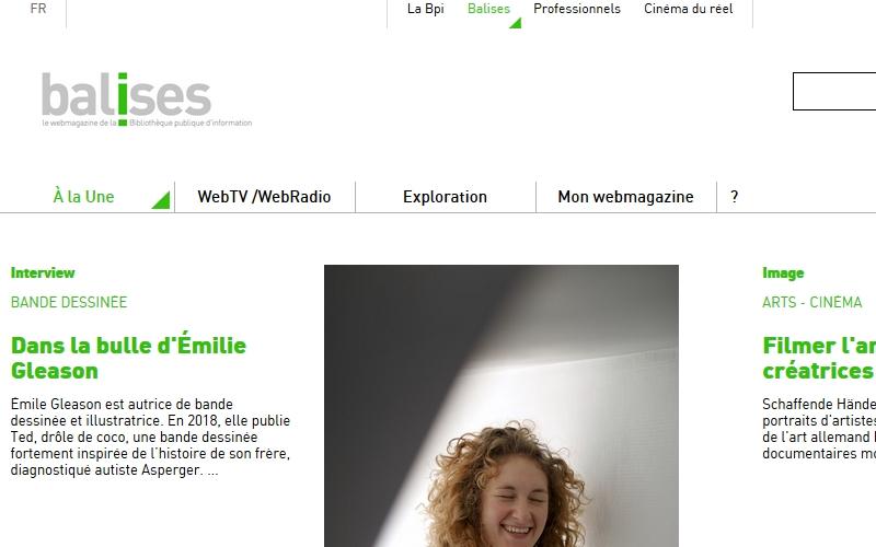 """Page d'accueil du Webmagazine """"Balises"""""""