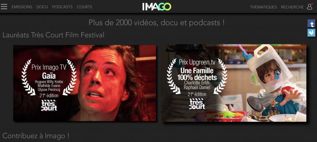 Page d'accueil du site Imago