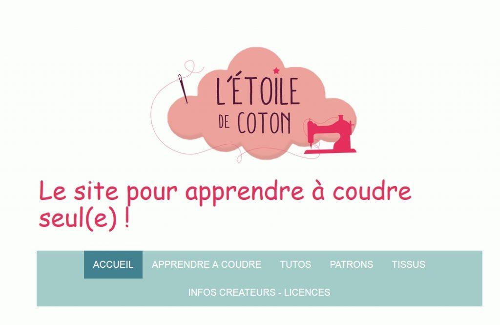 Page d'accueil du site de couture l'étoile de coton qui fourmille d'astuces et d'idées pour les curieux de l'aiguille et du fil