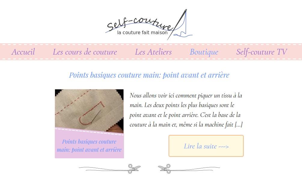 Page d'accueil du site Self-couture, cours de couture pour débutant