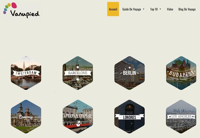 Noms des grandes villes ou capitales du guide