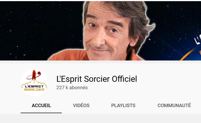 Accès à la chaîne youtube l'Esprit sorcier, nouvel onglet