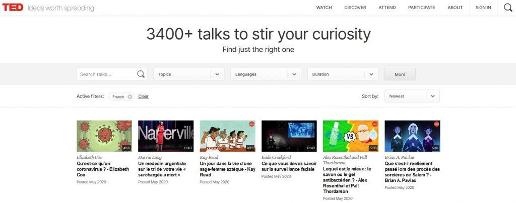 Cliquez ici pour accéder à la page d'accueil de Ted Talks