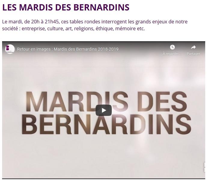 Acces au teaser Mardis des bernardins, nouvel onglet