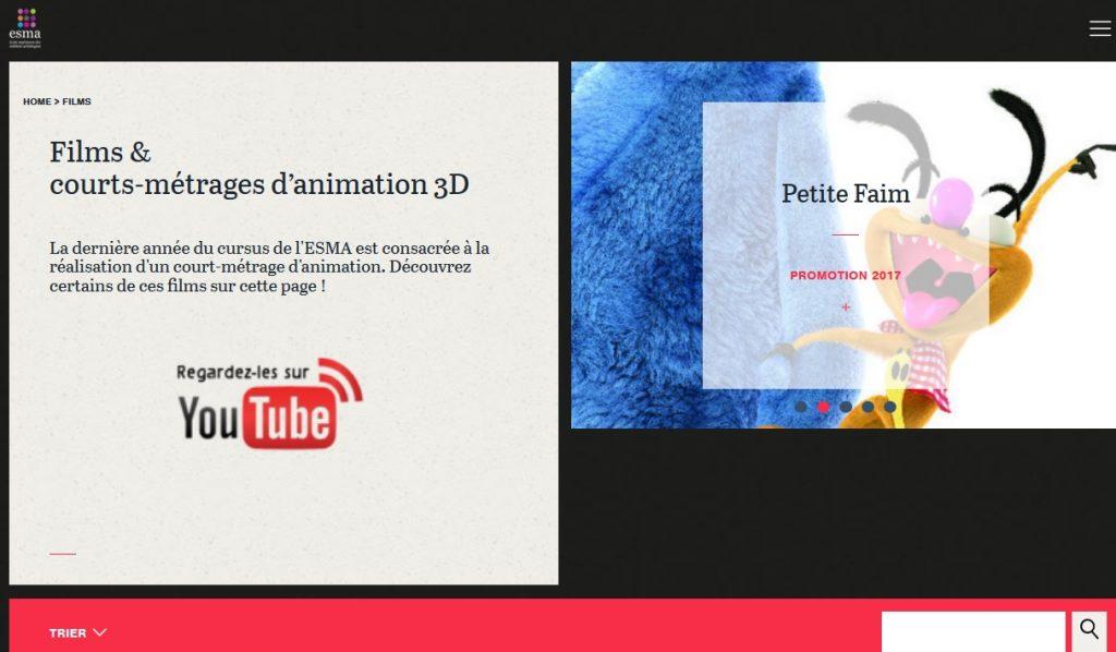 Accès aux films d'animation de l'ESMA, nouvel onglet