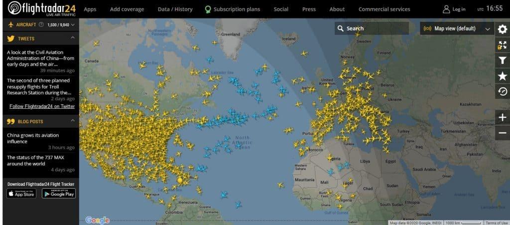 Accès au site Flightradar, nouvel onglet