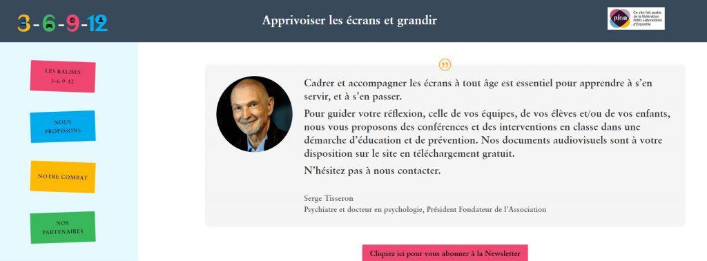 Lien vers la page d'accueil du site de Serge Tisseron pour apprivoiser les écrans