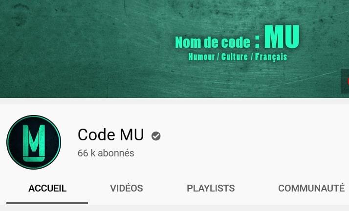 Accès à la chaîne Youtube Code Mu, nouvel onglet