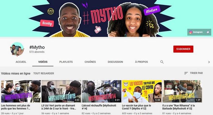 Accès à la chaîne Youtube hashtag Mytho, nouvel onglet
